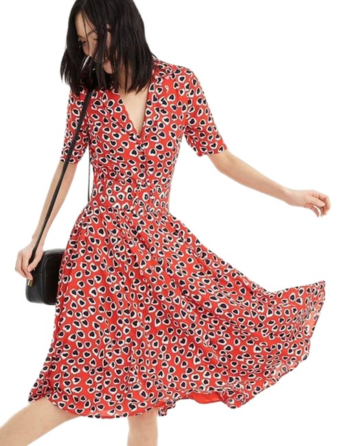 Item - Red A Line Midi Heart Print Mid-length Short Casual Dress Size 0 (XS)