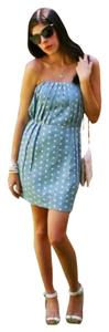 Line & Dot short dress blue Strapless Pleated Pleats Mini Mid Thigh Side Zip on Tradesy