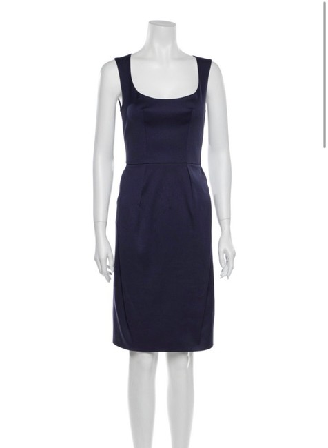 Item - Blue Fitted Cotton Scoop Neck Mid-length Night Out Dress Size 0 (XS)
