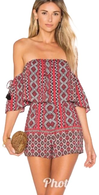 Item - Red Gray The Shoulder Boho Geometric Romper/Jumpsuit