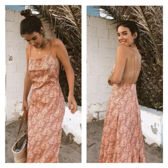 Item - Pink Printed Long Straight Neckline Open Casual Maxi Dress Size 0 (XS)