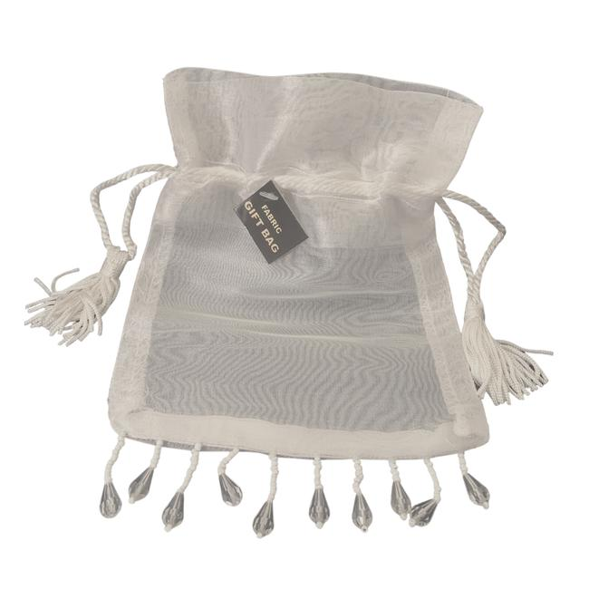 Item - White Antique Fabric Bags - 25 Bags with Rope Tassels and Beads Wedding Favors