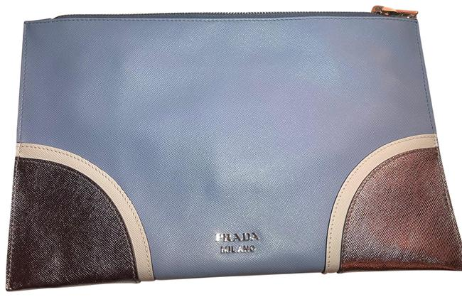 Item - Bp868l Blue and Silver Saffiano Leather Clutch