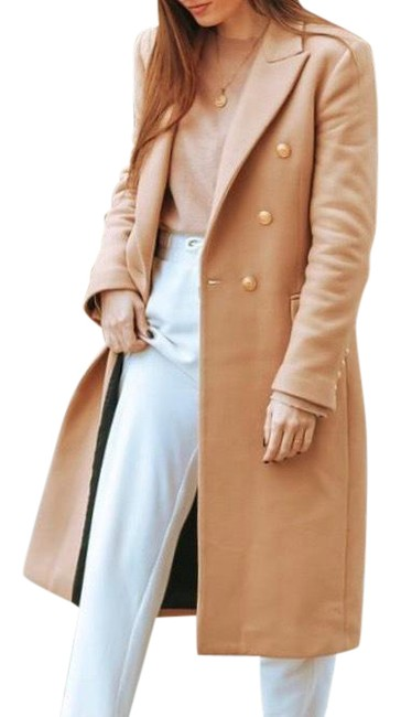 Item - Camel Tan Wool In Color with Gold Detail Buttons Coat Size 4 (S)