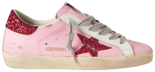 Item - Pink Superstar Glittered Distressed Leather Sneakers Size EU 42 (Approx. US 12) Regular (M, B)