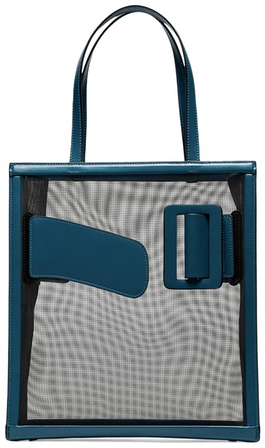 Item - Frame Blue Teal Mesh And Calfskin Leather Tote