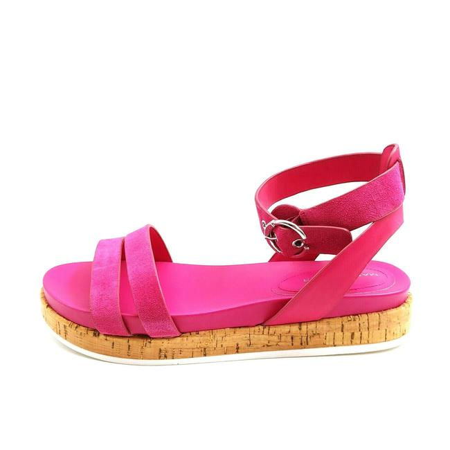 Item - Pink Womens Verily Suede Multi Strap Buckle Flat M Sandals Size US 8.5 Wide (C, D)