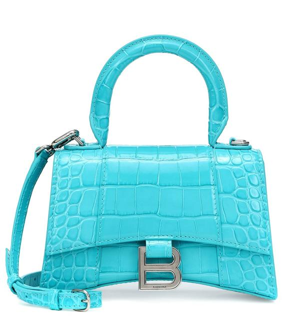 Item - Tote New Hourglass Croc Purse Turquoise Leather Cross Body Bag
