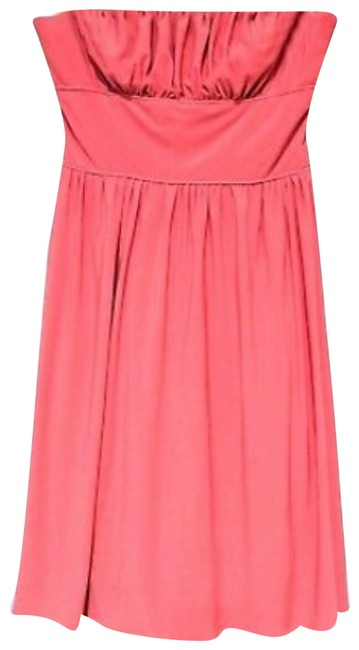 Item - Orange Womens Solid Peach Layered 406 Cocktail Dress Size 6 (S)