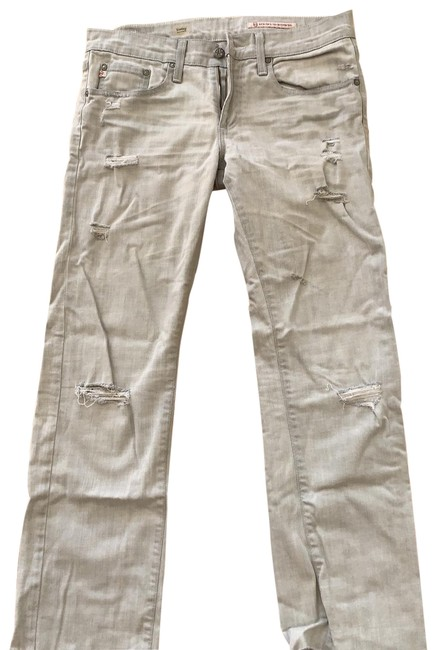 Item - Grey Bleached Distressed Tomboy Boyfriend Relaxed Fit Jeans Size 8 (M, 29, 30)