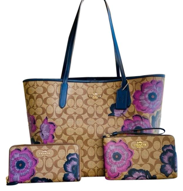 Item - 3pcs Periwinkle Foral Tote+wallet+wristlet Brown Purple Coated Canvas/Leather Tote