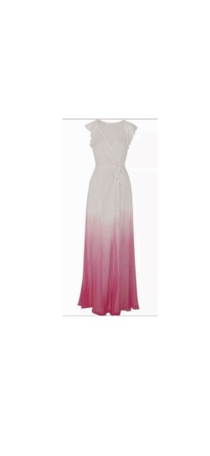 Item - Gray and Pink Ombre Dvf Delancey White Silk Maxi Long Night Out Dress Size 4 (S)