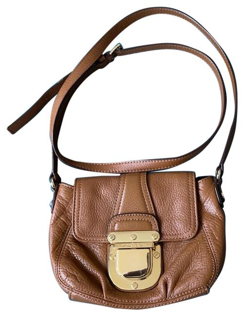 Item - Brown/Gold Leather Cross Body Bag
