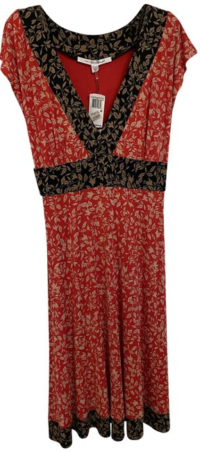 Item - Red with Black Mid-length Work/Office Dress Size 10 (M)
