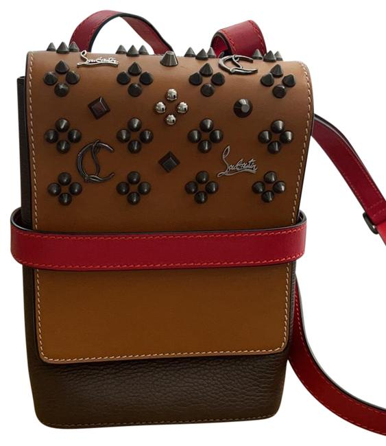 Item - Reporter Benech Cuir Calfskin Cafe/Brown/Red Leather Cross Body Bag