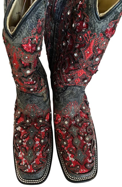 Item - Dark Brown with Red Sequins Cowboy Boots/Booties Size US 8 Regular (M, B)