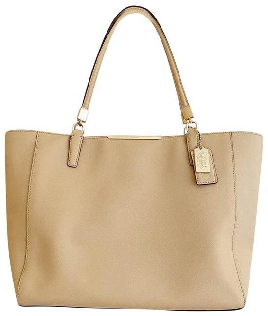 Item - East West Madison Saffiano Tan Matching Wallet Cream Leather Tote