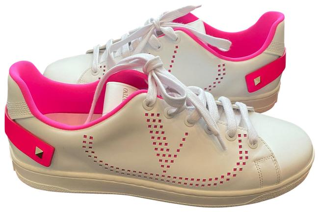 Item - White with Hot Pink Perforated V Rockstud Sneakers Ttm20w2 Flats Size EU 39 (Approx. US 9) Regular (M, B)