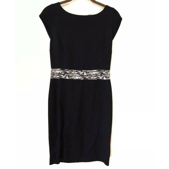 Item - Black Sheath White Texture Paint Print Cap Sleeve Mid-length Work/Office Dress Size 6 (S)