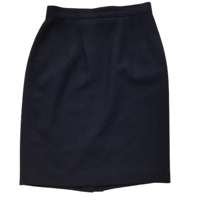 Item - Blue Pencil Wool Lined Skirt Size Petite 4 (S)