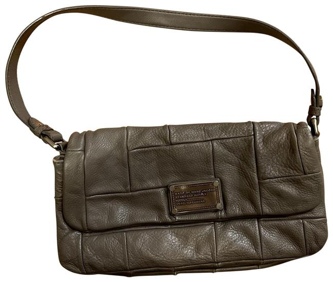 Item - Quilted Gray Leather Baguette