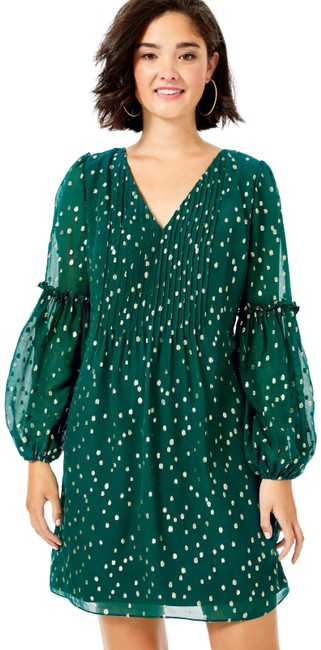 Item - Green Gold Metallic Cleme Silk Mid-length Night Out Dress Size 0 (XS)