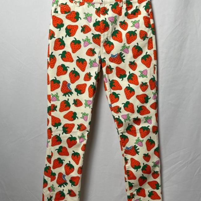 Gucci Red Cream Medium Wash Strawberry Print Washed Ivory Skinny Jeans Size 28 (4, S) Gucci Red Cream Medium Wash Strawberry Print Washed Ivory Skinny Jeans Size 28 (4, S) Image 6