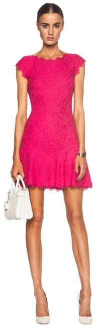 Item - Pink Lace Cap Sleeve Short Casual Dress Size 2 (XS)