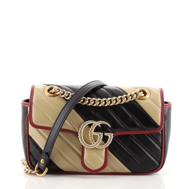 Item - Flap Marmont Gg Diagonal Quilted Small Black Neutral Leather Cross Body Bag