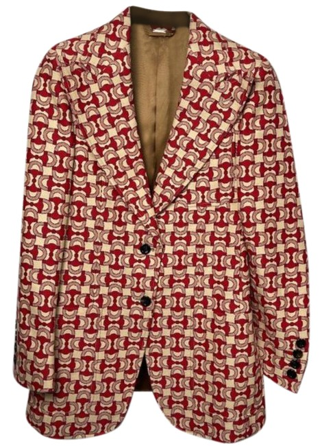 Item - Red Tan Horsebit Jacquard Compact Jacket Blazer Size 6 (S)