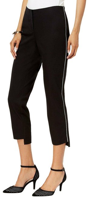 Item - Black with White Piping Comfort-waist Step-hem Ankle Pants Size Petite 8 (M)