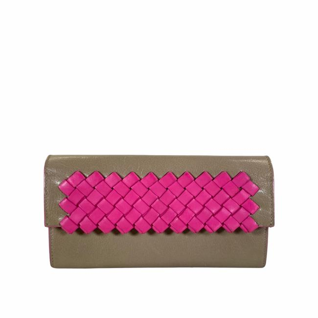 Item - Pink Cream Long Brown Leather Miiii Wallet