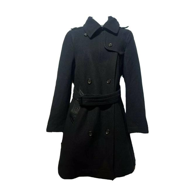 Item - Black Leather Trim Pea Coat Jacket Size 6 (S)