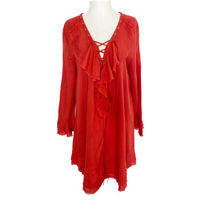 Item - Red Florine Long Sleeve Lace-up Deep V Ruffle Mini Short Casual Dress Size 4 (S)