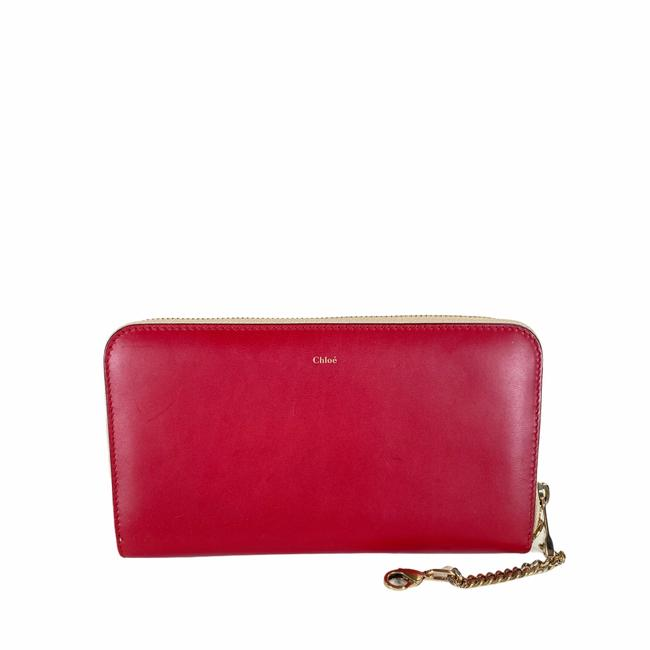 Item - Red Cream Long Leather Zipper Wallet