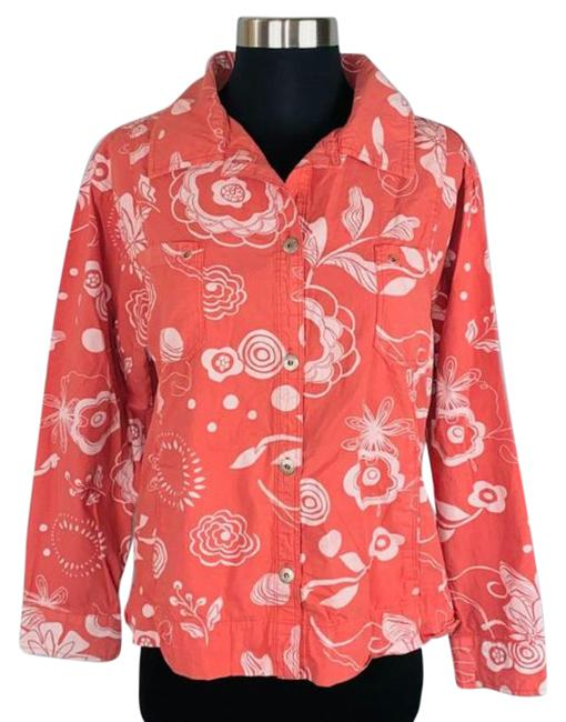 Item - Orange Muted Floral Shirt Button-down Top Size 8 (M)