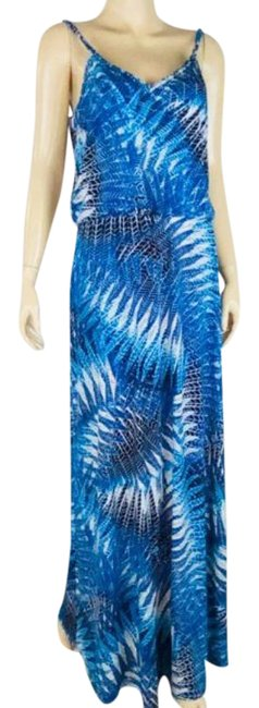 Item - Blue Black Blouson Sundress Long Casual Maxi Dress Size 10 (M)