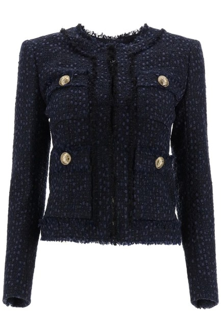 Item - Navy Collarless Tweed Jacket Blazer Size 8 (M)