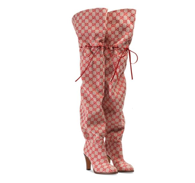 Item - Red New Gg Supreme Monogram Over The Knee Canvas Leather Boots/Booties Size EU 37.5 (Approx. US 7.5) Regular (M, B)
