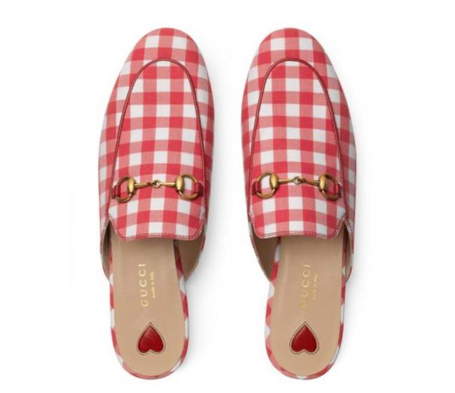 Item - Red White New Gingham Princetown Fabric Leather Mules/Slides Size EU 40 (Approx. US 10) Regular (M, B)