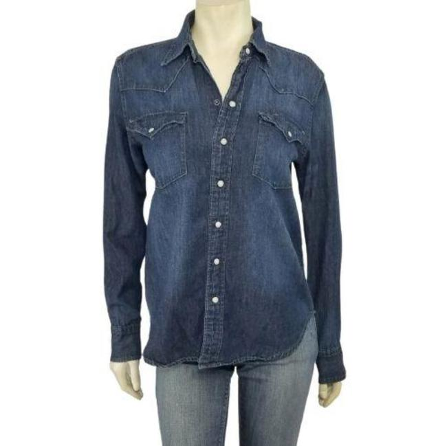 Item - Blue Denim Western Pearl Snap Button-up Button-down Top Size 12 (L)