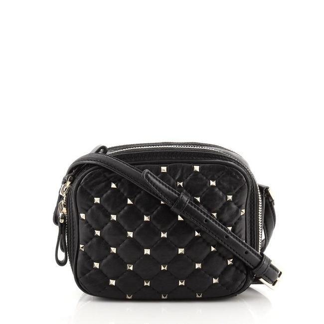Item - Camera Rockstud Spike Quilted Mini Black Leather Cross Body Bag