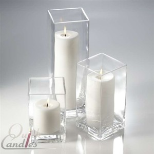 Set Of 3 Square Pillar Vases