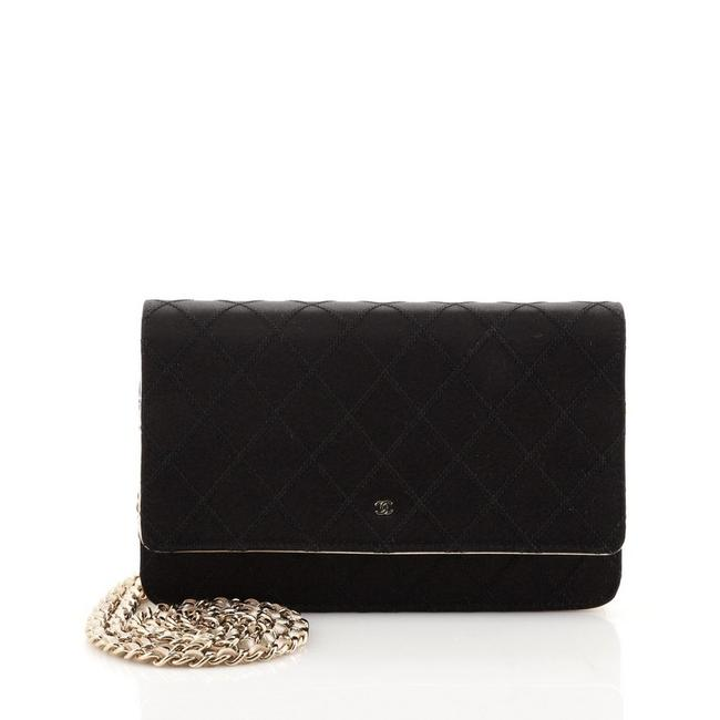 Item - Wallet on Chain Diamond Stitch Quilted with Lambskin Black Satin Cross Body Bag