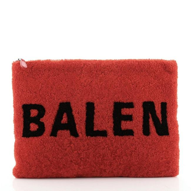 Item - Logo Pouch Red Shearling Clutch