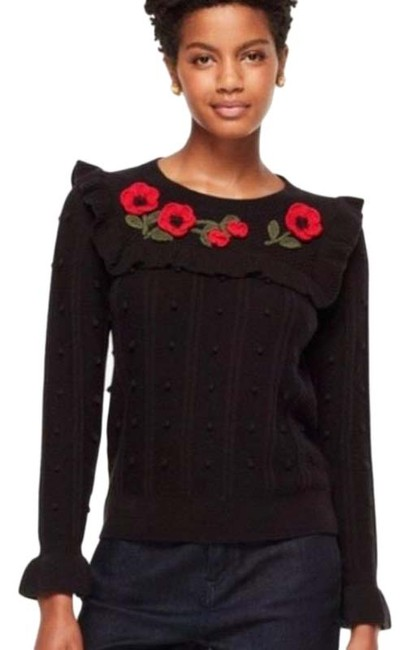 Item - Embroidered Poppy Wool Blend Black Sweater