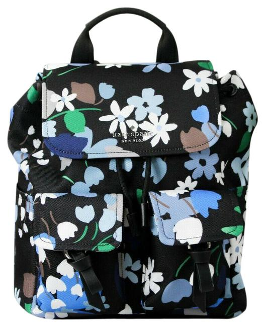 Item - Carley B Blooms Blue Floral Large Flap Book Black Multi Canvas Backpack