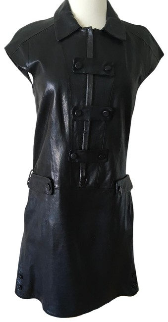Item - Black Genuine Leather Mini- Hip Cool Forever Short Casual Dress Size 6 (S)