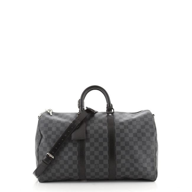 Item - Keepall Bandouliere Damier Graphite 45 Black Coated Canvas Weekend/Travel Bag