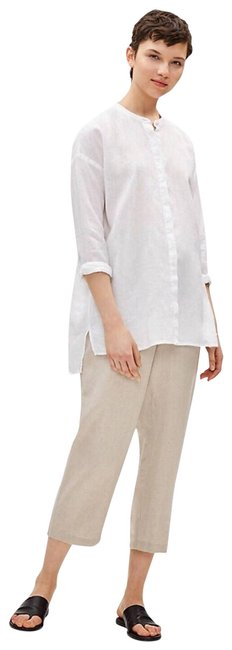 Item - White L Organic Linen Tunic Activewear Top Size 12 (L)
